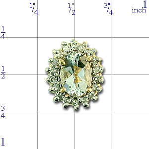 Y1443 14K ROUNDAQUAMARINE SLIDE SURROUNDED BY DIAMONDS