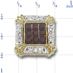 Y1718 14K SQ SCORED GARNET & DIAMOND SLIDE