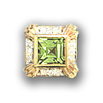 Y1718 14K SQPERIDOT & DIAMOND SLIDE