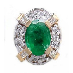Y1790 14K EMERALD & DIAMOND SLIDE WWITH BAGUETTE ON CORNERS