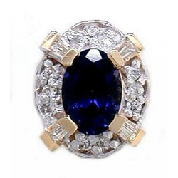 Y1790 14K IOLITE & DIAMOND SLIDE WWITH BAGUETTE ON CORNERS