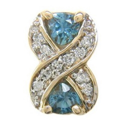 Y1792 14K TRILL LONDON BLUE TOPAZ & DIAMOND X SLIDE