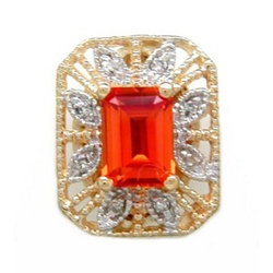 Y2362 14K EMERALD CUT CREATED PADPARASHA & DIAMOND SLIDE