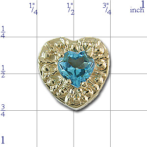 Y415 14K HEART SWISS BLUE TOPAZ SLIDE