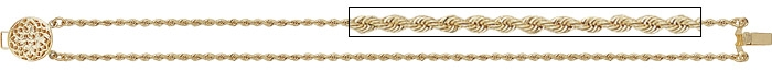 14K Rope Slide Stater Bracelet with Filigree Clasp
