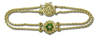 14K Emerald and Diamond Parisian Wheat Slide Starter Bracelet