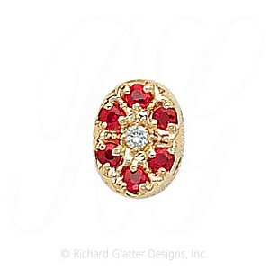 GS032 D/R - 14 Karat Gold Slide with Diamond center and Ruby accents