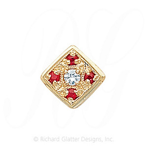 GS033 D/R - 14 Karat Gold Slide with Diamond center and Ruby accents
