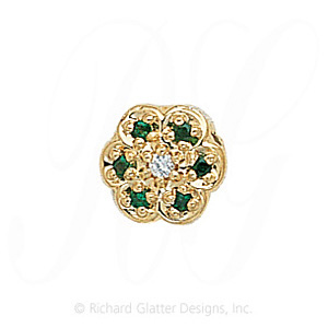 GS036 D/E - 14 Karat Gold Slide with Diamond center and Emerald accents