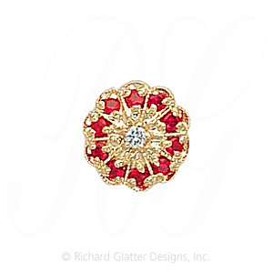 GS037 D/R - 14 Karat Gold Slide with Diamond center and Ruby accents