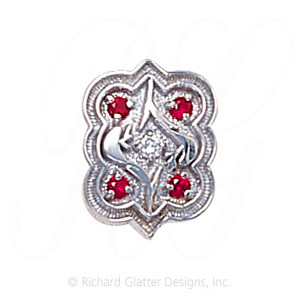 GS263 D/R - 14 Karat Gold Slide with Diamond center and Ruby accents