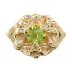 Y723 14K SLIDE WITH 1 ROUND PERIDOT