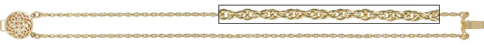 14K Triple Link Slide Stater Bracelet with Filigree Clasp