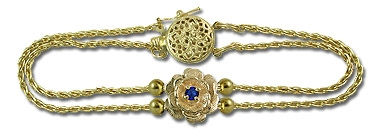 14K Sapphire and Diamond Parisian Wheat Slide Starter Bracelet